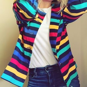 Vintage Lesley Faye 1970s retro striped blazer